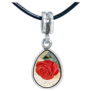 Chicforest Silver Plated Red Rose Photo Angel Tears Charm Beads Fits Pandora Chamilia Biagi Charm Bracelet