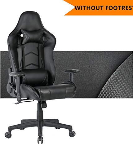 Gaming Chair Ergonomic Racing Computer Chair Swivel Office Chair with Headrest and Lumbar Support (Black,68)