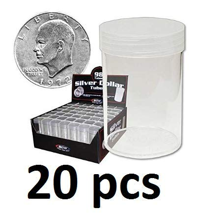 COIN STORAGE TUBES, round clear plastic w/screw on tops for Large dollar/EISENHOWER/MORGAN DOLLAR (20 tubes)
