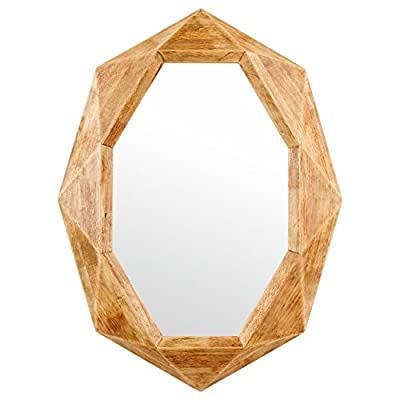Amazon Brand – Rivet Modern Octagon Wood Frame Hanging Wall Mirror, 30.5 Inch Height, Natural - An on-trend octagonal shape is softened by a wood frame with a warm, variegated finish. Hang anywhere you want to add an element of fun and style. Modern shape softened by warm, distressed-look wood finish Glass, solid rubber wood with distressed finish - bathroom-mirrors, bathroom-accessories, bathroom - 41%2BYmR7%2BVgL. SS400  -