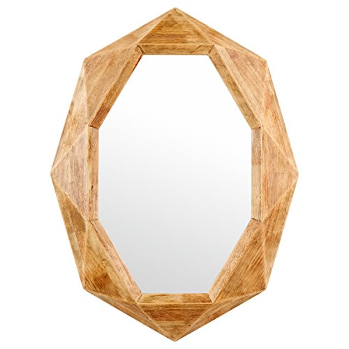 Rivet Modern Octagon Wood Frame Hanging Wall Mirror, 30.5 Inch Height, Natural (Oval Wall Length Full Mirror)