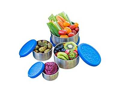 Stainless Steel Food Storage Containers by Home & Harvest | Set of 4 with Leak-Proof Silicone Lids