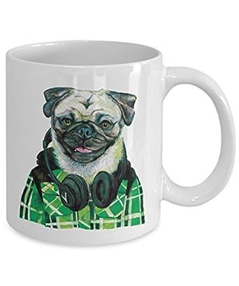 Funny Pug Wearing Headphones Mug - Cool Ceramic Pug Coffee Cup - Green (11oz)