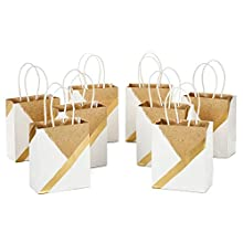 """Hallmark 6"""" Small Paper Gift Bags - White and Kraft (Pack of 8 for Birthdays, Weddings, Christmas, Hanukkah, Baby Showers, Bridal Showers and More)"""