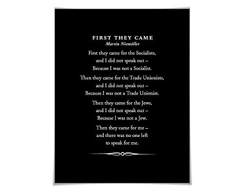 First They Came, Then They Came For Me Art Print Art Print. 3 Sizes. Martin Niemöller. Holocaust Poem Immigrants