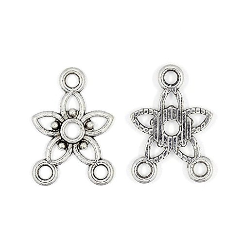 Pandahall 50pcs Tibetan Antique Silver Star Chandelier Component Charm Links for Necklace Dangle Earring Making 17.5x12x2mm