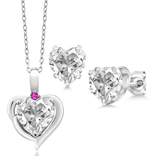 - Gem Stone King 6.77 Ct Heart Shape White Topaz Pink Sapphire 925 Silver Pendant Earrings Set