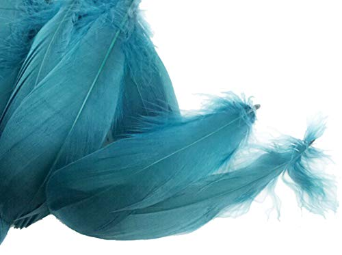 Colorful Goose Feathers, for DIY Craft Wedding Home Party Decorations 50pcs/Pack/ (4-7.8 inch) (Ink Blue) -