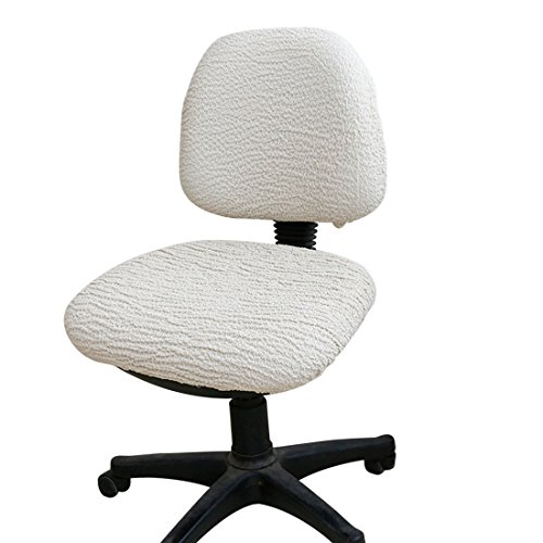 Jiyaru Office Rotating Chair Slipcover Stretch Computer Swivel Chair Cover Beige by Jiyaru