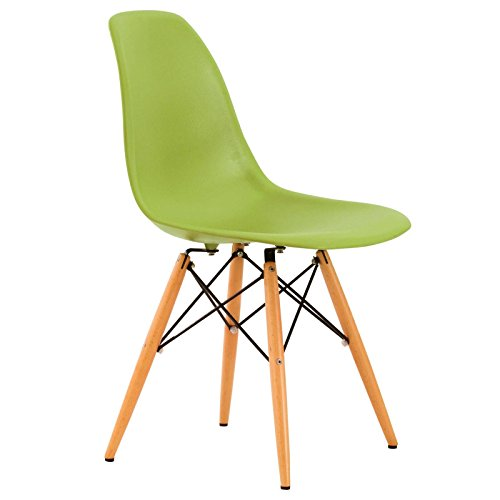 LeisureMod Dover Plastic Molded Side Chair with Wooden Dowel Legs in Apple Green