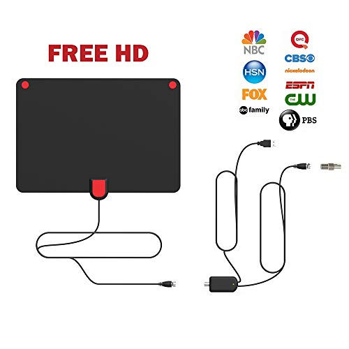 Amplified HD Antenna, [2018 Upgraded] Indoor Digital HDTV Antenna with 50 Miles Long Range Detachable Amplifier Signal - Support 1080p High Definition Antennas for TV and 16.5 FT Coax Cable Free