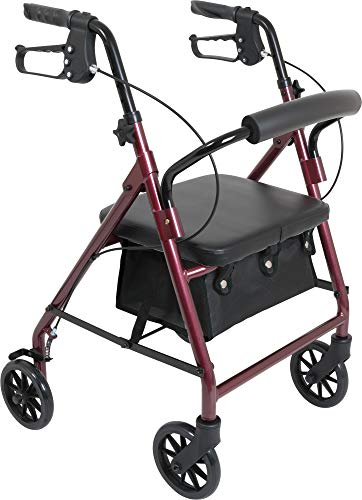 ProBasics Junior Rollator with Loop Brakes and Pouch (Burgundy)