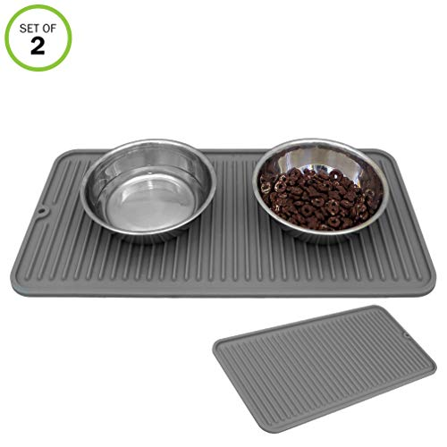 Evelots Cat/Dog Food Mat-Silicone-Nonslip-Waterproof-with Rivet-Dishwasher-Set/2