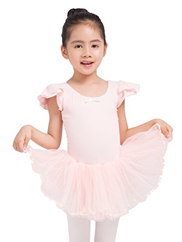 Dancina Girls Leotard Petal Sleeves Full Front Lining Tutu 4 Ballet Pink