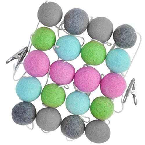 "Pom Pom Garland, 100% Natural Wool Felt Ball Banner, Large 1.5"" Pompom Balls, Colorful Birthday Banner is 10 Feet Long, Bright Colored Decorations on String for Bedroom Kid"