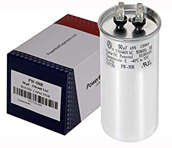 PowerWell 50 MFD uf Motor Run Round Capacitor 370 V VAC or 440 Volt