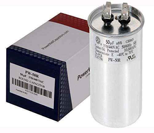 PowerWell 50 MFD uf Motor Run Round Capacitor 370 V VAC or 440 Volt 50 Micro Farad PW-50/R with Size 5-1/2 Tall and 2 Wide