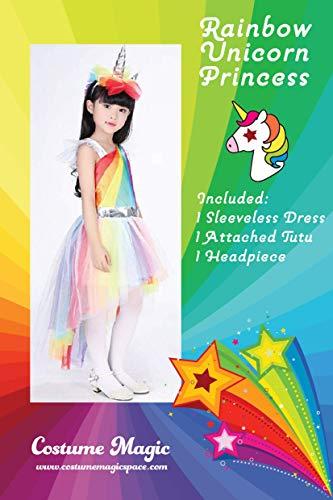 Costume Magic Girl's Rainbow Unicorn Princess Dress Up Costume (Medium (6-8)) -