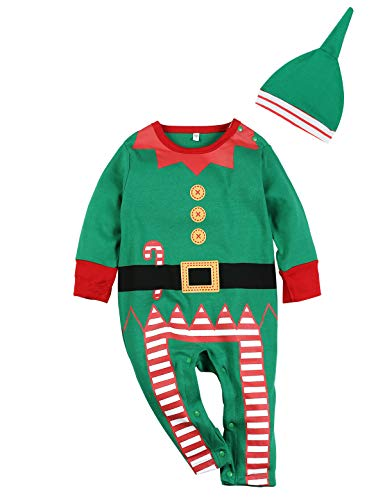2PCS Christmas Outfit Set Baby Boys Girls Funny Elf Costume Newborn Romper (Green, 18-24 Months) -