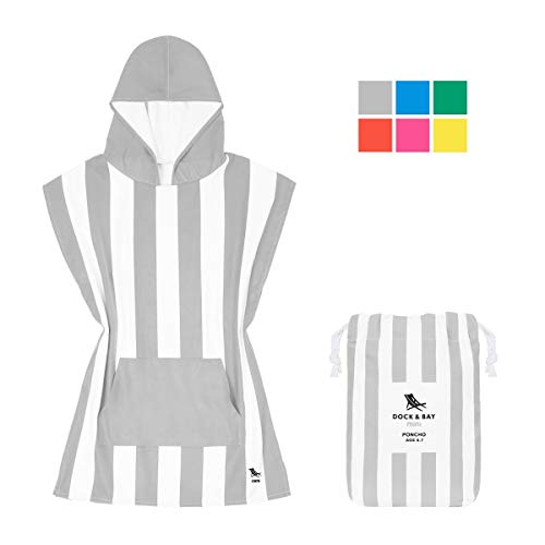 Dock & Bay Kids Hooded Poncho Swim Towel - Goa Grey, Kids (4-7 Years)- Child Bath Robe Poncho Includes Drawstring Bag ()