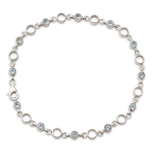 - NOVICA Blue Topaz .925 Sterling Silver Link Anklet, 10