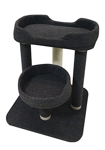 Penn Plax CATFM8 Two Level Cat Bed With Scratching Posts Easy Twist and Lock Assembly, Grey Over 22 Inches High