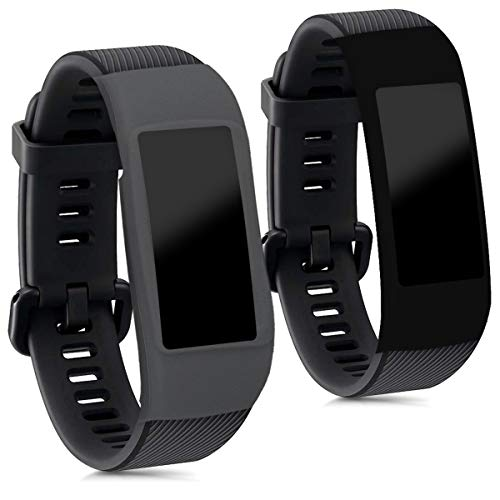 kwmobile Cases for Huawei Honor Band 3 Pro - Set of 2 Silicone Covers (Fitness Tracker Not Included) - Black/Grey