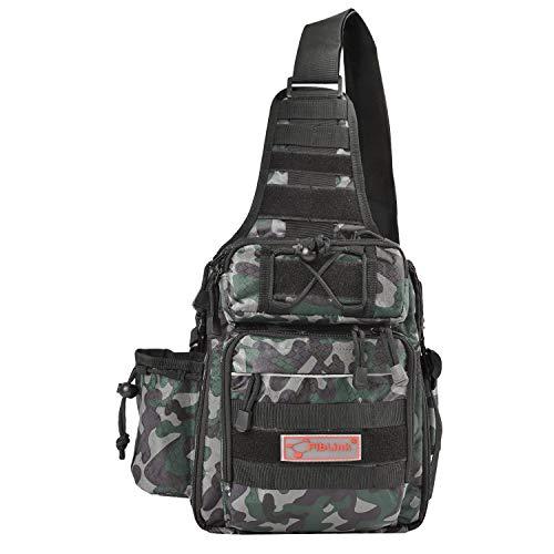 Fiblink Waterproof Sports Single Shoulder Fishing Tackle Bag Backpack or Handbag Chest Daypack Crossbody Messenger Sling Bags for Hiking Camping (Woodland Camouflage)
