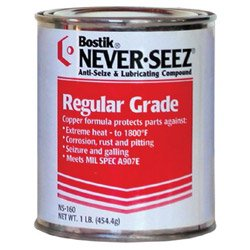Never-Seez NS-168 Silver Gray Regular Grade Anti-Seize Compound, -297 Degree F Lower Temperature Rating to 1800 Degree F Upper Temperature Rating, 8 lb. Flat Top Can by Never-Seez