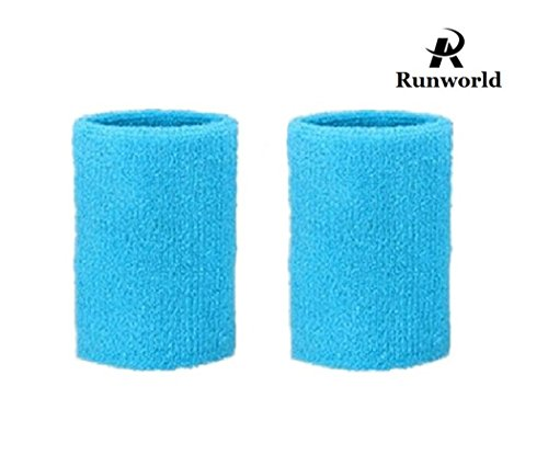 - Runworld 4 Inch Sweatband / Cotton Sports Basketball Football Tennis Absorbent Wristband - Terry Cloth Athletic Wrist Sweat band Fits to Men Women (Pair) (Sky Blue)