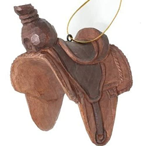 western horse saddle ornament hand carved of real wood - Horse Christmas Decorations