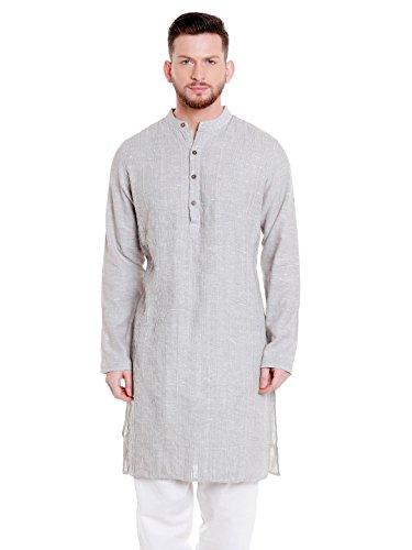Shatranj Men's Indian Banded Collar Cotton Kurta Tunic With Vintage Pintucks; Grey; - Model Indian Man