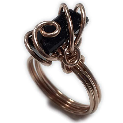 (Rocks2Rings Black Tourmaline Ring 14k Rose Gold Filled 10 x 12 mm Gemstone, Elegant Gift Box Wire Wrapped Jewelry 6R Z)