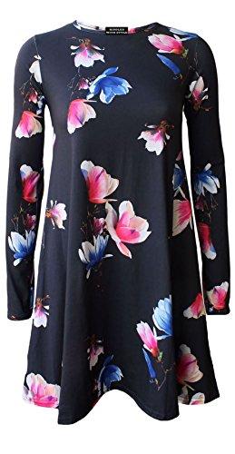 Tulip GRANDES 26 VASE ROBE CARREAUX 8 TAILLE ROBE Black NOUVEAU FEMME MANCHES SWING LONGUES LONGUE TAILLES COSSAIS MANCHE 44qSTw
