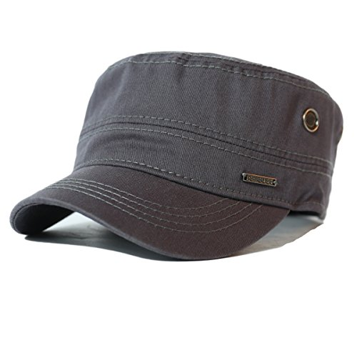 d489f34eef7 CACUSS Men s Cotton Army Cap Cadet Hat Military Flat Top Adjustable  Baseball Cap. Colour  P0065 Grey. product-variation