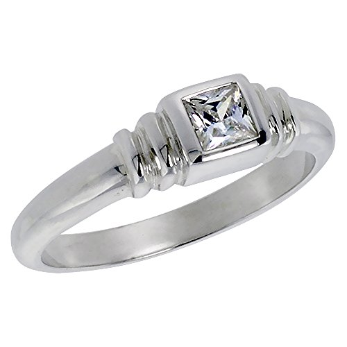 Sterling Silver Zirconia Solitaire Princess