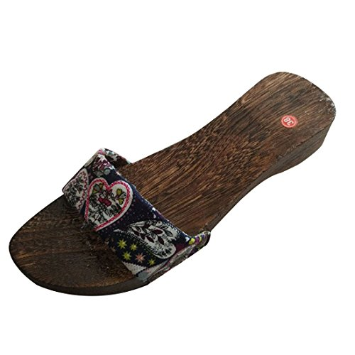 Jiyaru Femmes Pantoufles En Bois Geta Sabots Chaussures Sandales Chaussures Japonaises Marine