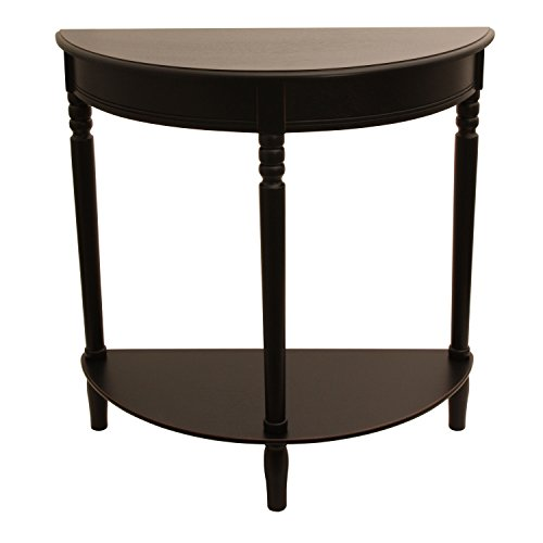 (Décor Therapy FR1799 Eased Edge Black Half Round Table, Black Finish)