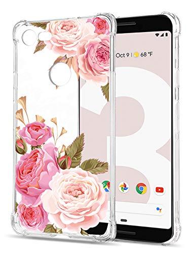 Floral Clear Google Pixel 3 Case for Women/Girls,GREATRULY Pretty Phone Case for Google Pixel 3 (2018),Flower Design Transparent Slim Soft TPU Shockproof Bumper Cushion Silicone Cover Shell,FL-K