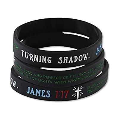 Bible Verse Christian Wristbands (Value Pack of 12 Silicone Bracelets Available) - Popular Scriptures - John 3:16 - James 1:17 - Mark 12:30 - Isaiah 40:31 from Forge