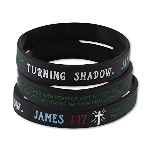 Bible Verse Christian Wristbands (Value Pack of 12 Silicone Bracelets Available) - Popular Scriptures - John 3:16 - James 1:17 - Mark 12:30 - Isaiah 40:31 (James 1:17 -- 10 Bracelets)