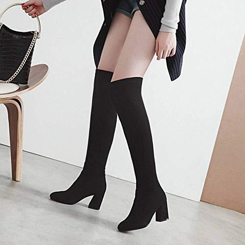 Vulusvalas le à genou sur pour noirs hauts mode Bottes femmes talons r4q8wrZ
