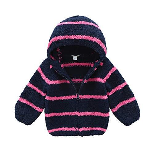 - BOSBOOS Toddler Baby Boys Girls Cute Fleece Hooded Jacket Kids Soft Warm Winter Outwear Coat Clothes (4T, Navy Rose)