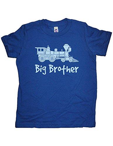 Announcement Train (Boys Train Big Brother Shirt 3T-4T Blue by Sunshine Mountain Tees)