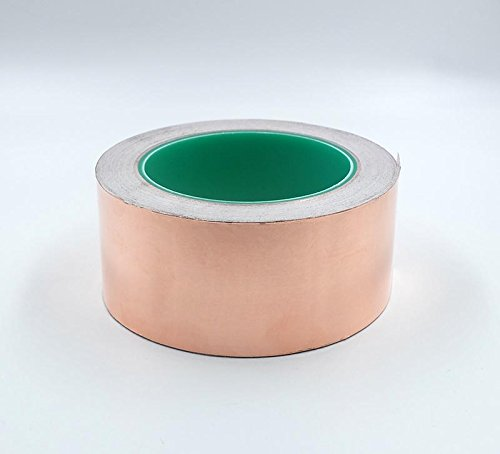 HobbyUnlimited Copper Foil Tape with Conductive Adhesive (2inch X 27yards) - Slug Repellent, EMI Shielding, Stained Glass, Paper Circuits, Electrical Repairs - Top Quality