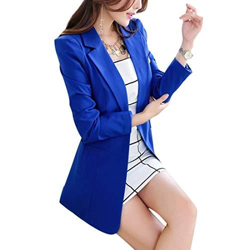 Blazer Blazer Lungo Formale Blazer Base marca marca marca Sottile Donna di Giacca Giacche Lunghe Business Mode Eleganti Lunghi Maniche Da Moda Autunno Button Tailleur Bavero Grau Ufficio Primaverile X4wqw5fY