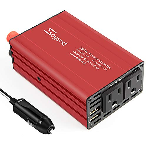 Soyond D01-98 Car Inverter Power Inverter-300W DC 12V to 110V AC Charging Port Converter Car Charger Adapter 4.2A Dual USB Ports (Red_300W)