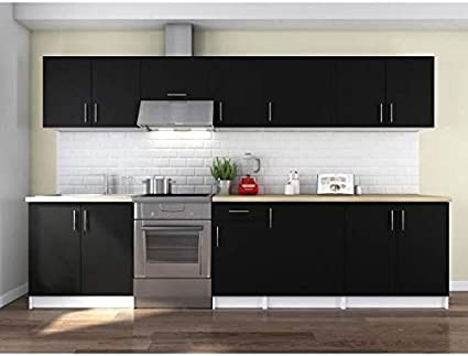 Obi Cucina Completa 320 Cm Colore Nero Opaco Amazon It Casa E Cucina