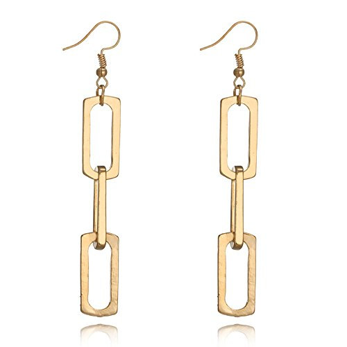 Retro Exaggerated 18K Gold Geometric Multi-layer Metal Chain Circle Dangle Drop Earring for Women
