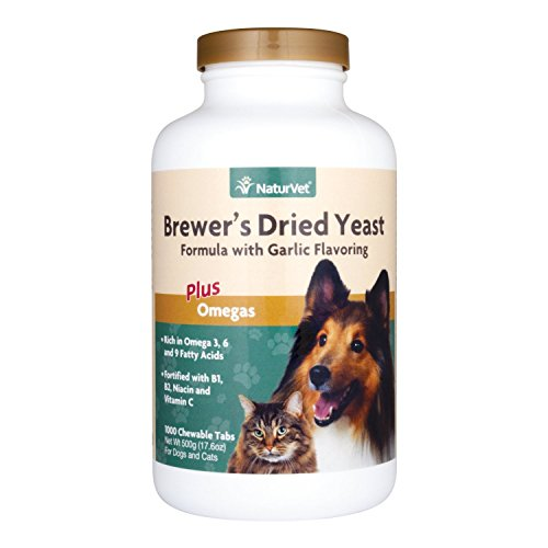 NaturVet Brewer's Dried Yeast Formula with Garlic Flavoring Plus Omegas for Dogs and Cats, 1000 ct Chewable Tablets, Made in (Brewers Yeast Tabs)
